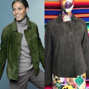 Talbots Suede Jacket Leather Blazer Green Moss Sna